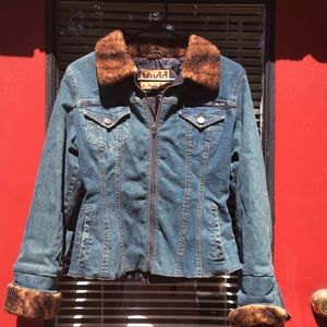 Jean jacket with fur style collar and cuffs